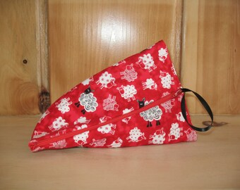 Quilted Triangle Bag with Sheep and a zipper