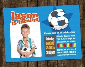 Soccer Star Birthday Party (photo) Invitation Digital Printable, any color any wording any age