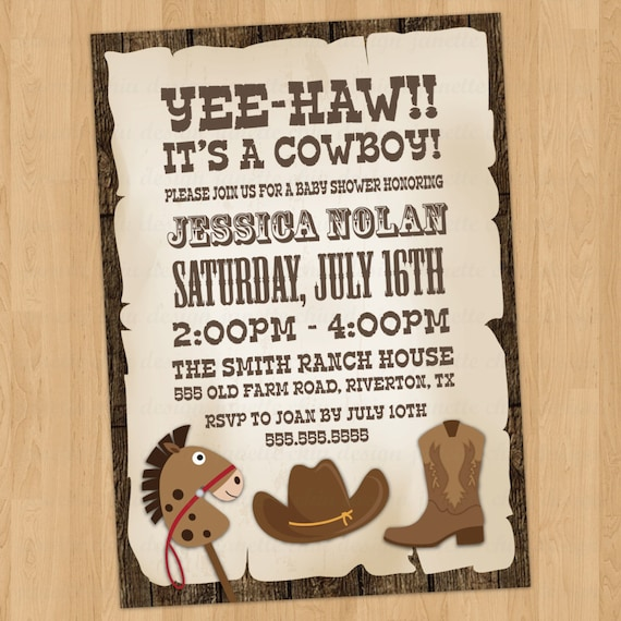 cowboy baby shower invitation digital printable any color any wording