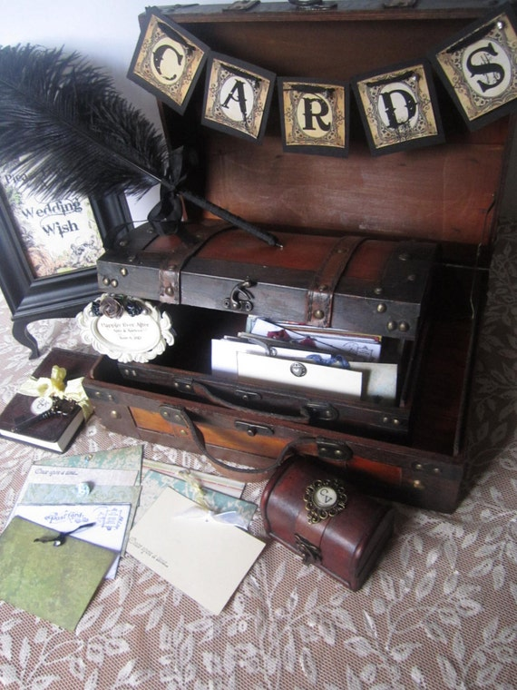Vintage Style Wedding Decor Victorian Steampunk Wedding Guest Book Alternative Vintage Styled Card Box Card Banner Wedding
