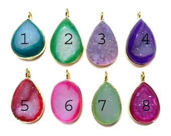 24 kt. Gold Plated Druzy Pendants , 1 piece of fine quality Mix Colour druzy gem stone Pendant , full druzy gemstones pendants