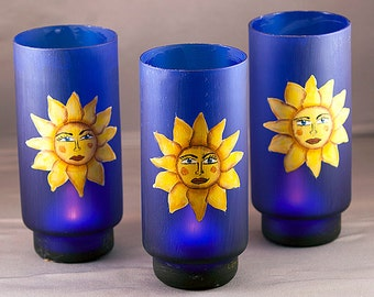 Candle Holder, Luminary Tea Light, LED Lantern, Talavera Mexican Sun, Gifts for Women,  Hostess Gift, Hand Painted Southwest Decor,