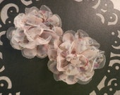 "Light Pink Floral  4.5"" Chiffon Mesh Flowers - 2 PCS"
