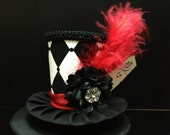 Black White and Red Mad Hatter Mini Top Hat. Great for Birthday Parties, Photo Prop, Bachelorette Party, Girls Night Out and Much More...