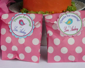 A LITTLE BIRDIE Birthday Party Favor Tags or Stickers {One Dozen} - Party Packs Available