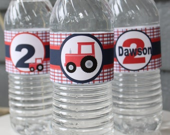 TRACTOR Themed Water Bottle Labels Set of 1 {One Dozen} - Party Packs Available