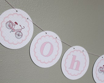 "VINTAGE BICYCLE Themed ""Oh Baby"" Baby Shower Banner Pink Gray - Party Packs Available"