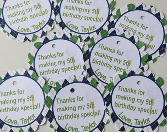 PREPPY ARGYLE GOLF Theme Birthday or Baby Shower Favor Tags or Stickers 12 One Dozen