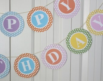 PREPPY POLKADOT MONOGRAM Theme Happy Birthday or Baby Shower Party Banner You Pick Colors - Party Packs Available