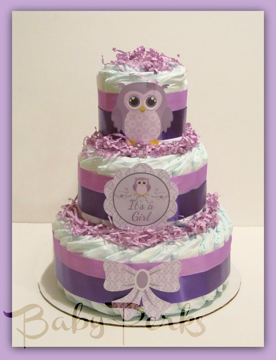 Owl Diaper Cake Decorations : Owl Diaper Cake Purple Owl Baby Shower Owl Baby Shower by ...