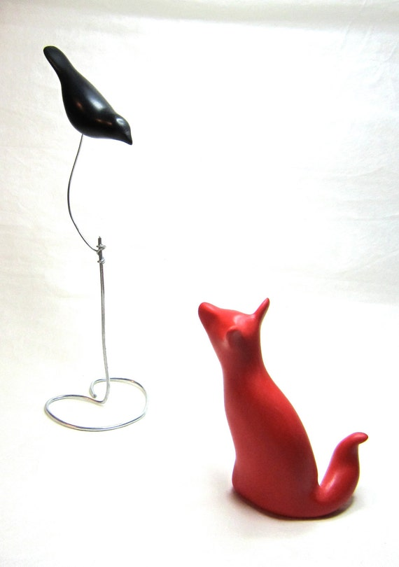 RESERVED for Meghan - Little Fox and Crow pair sculpture decoration hand made OOAK Aesop's fable
