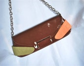 Cocoa Brown Patent Leather Clutch with Green and Peach Suede Patches, 1980s from Spain