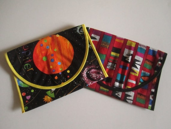 Set of 2: Waterproof Snack Pouches Black Space and Multicolor Print - Waterproof & Washable Back to School Christmas