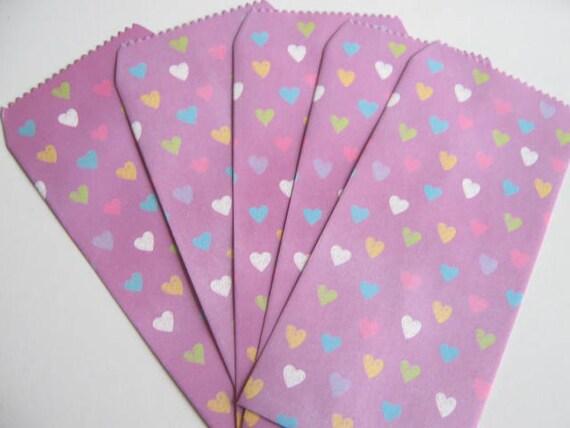 Set of 5 Paper Bags, heart/purple