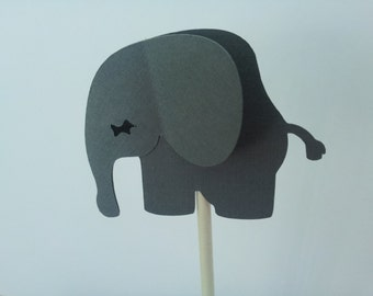 12 grey  Elephant cupcake picks/toppers, baby shower, party decoration