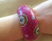 Hot Summer: bright pink and multi tone hand dot painted wood bangle bracelet