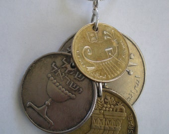 Israel Coins Cluster Pendant