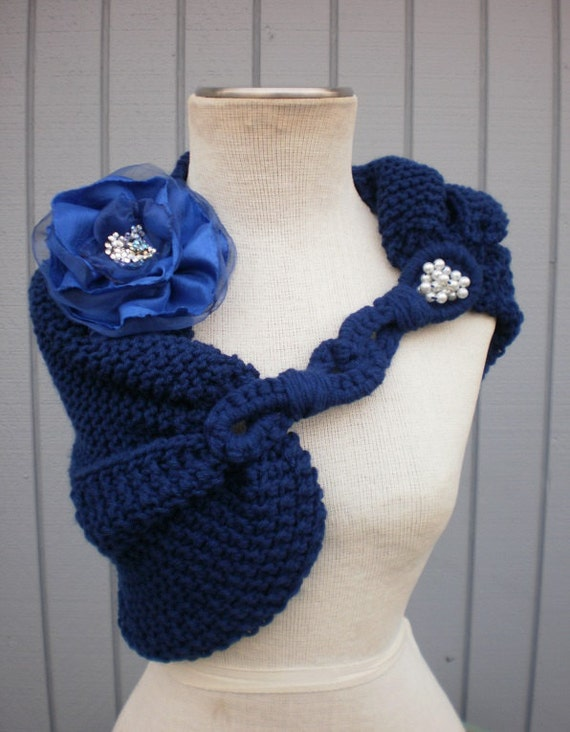 wedding shawl, wedding accessories, bridal shawl, bridal accessories, blue shawl, women shawl, capelet, handmade flower, gift for her