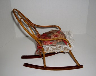 Vintage Doll Rocking Chair Bentwood Rattan Rocking Chair