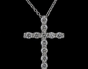 Diamond Cross Necklace, Gold Cross Pendant, Religious Symbol Necklace, Christianity Cross, Conflict Free Diamond Cross, Cable Chain