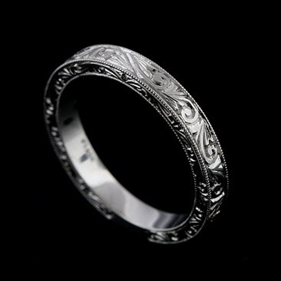 Platinum 2mm Hand Engraved Wedding Band With Milgrain: Hand Engraved Wedding Ring Vintage Style Wedding Band Swirl