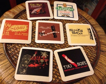 Set of 7 Assorted TIKI BAR Cocktail Coasters printed with vintage matchbook cover art.