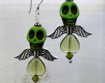 Dia de los Muertos Earrings - Green Winged Skull Earrings