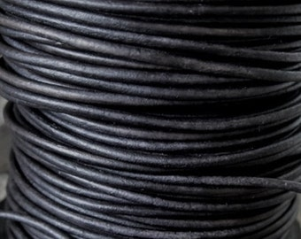 Naturally Dyed Black Leather Cord 1.5 MM Round Jewelry Lace 4 Yd Craft Cord