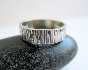 Personalized Birch Textured Sterling Silver Ring - Silver Band