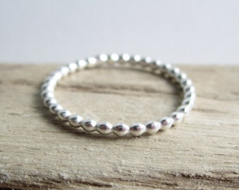 Silver Beaded Ring - Stacking Ring