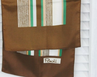 Vintage Brown Green and Beige Designer Neck Scarf by Paoli