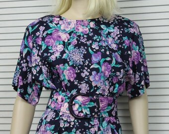 Vintage 1980s Navy Blue and  Purple Floral Dress Size 5/6