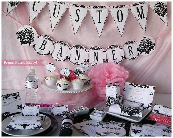 Girl baby shower decorations printable set baby shower for Baby shower decoration set