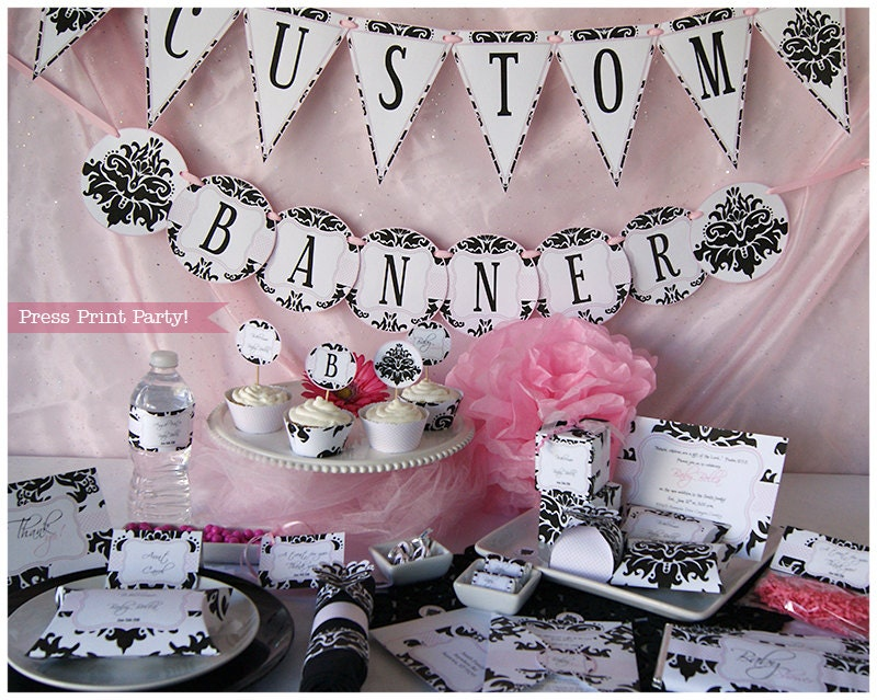 Superb Black And Pink Baby Shower Part - 3: ?zoom