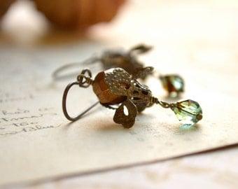 Iris Earrings in Copper and Aqua Blue Tortoise Czech Glass and Brass