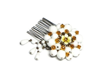 White Wedding Hair Comb, White Milk Glass, Citrine Rhinestones, Upcycled Vintage, Prom Hair Jewelry