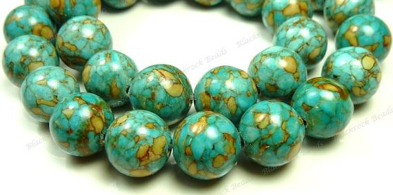 10mm Blue Mosaic Turquoise Round Gemstone Beads - 20pcs - BB20