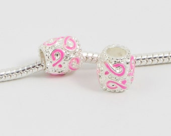 3 Beads - Pink Ribbon Breast Cancer Awareness Silver European Bead Charm E0089