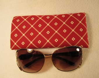Sunglass / eyeglass case in bright red and white diamond pattern 100% cotton padded and lined