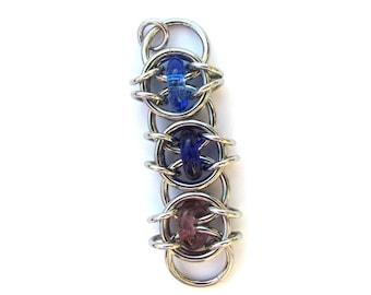 Chain Mail Pendant, Glass Pendant, Multicolor Pendant, Blue Purple Glass Jewelry