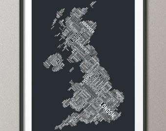 Great Britain UK City Text Map, Art Print (304)