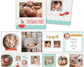 Baby Announcement 3x3 Accordion mini template - Little Adventure - E779