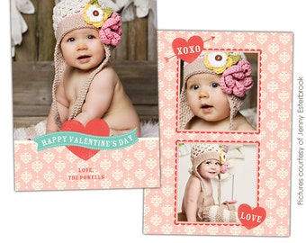 INSTANT DOWNLOAD - Valentine's Day Photocard Template - Photoshop file - E679