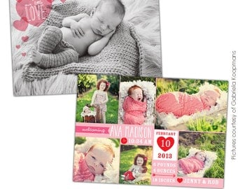 INSTANT DOWNLOAD - Valentine Birth Announcement - Photoshop template - E686