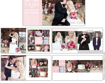 INSTANT DOWNLOAD - 12x12 Wedding album template - Heartfelt Love - E724