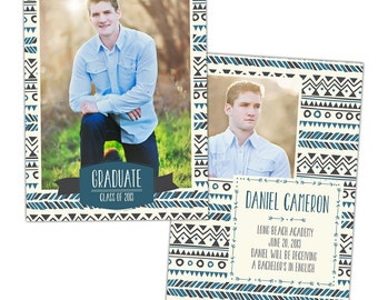 INSTANT DOWNLOAD - Graduation announcement - Photoshop Templates - E840