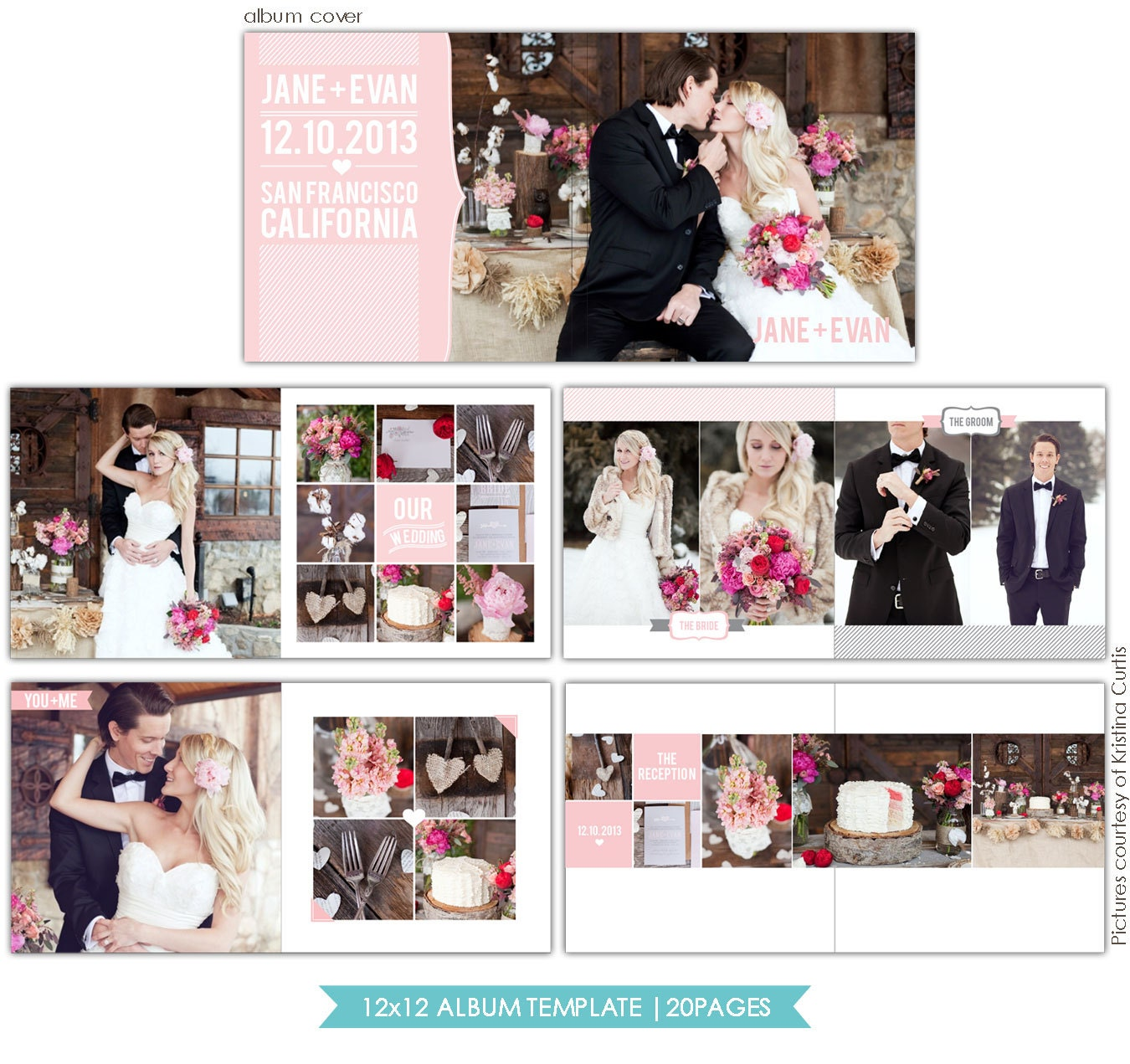 INSTANT DOWNLOAD 12x12 Wedding album template Heartfelt