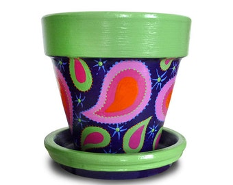 Purple and Lime Green Paisley Flower Pot  Planter- 8-inch pot