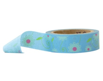 Pastel Blue Floral Washi Tape with Flowers