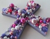 Lavender Purple Pink Cross Wall Hanging
